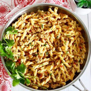 Tri-Pepper Turkey Pasta full photo in skillet