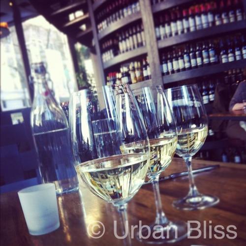 white wine glasses at Purple Cafe Wine Bar Seattle