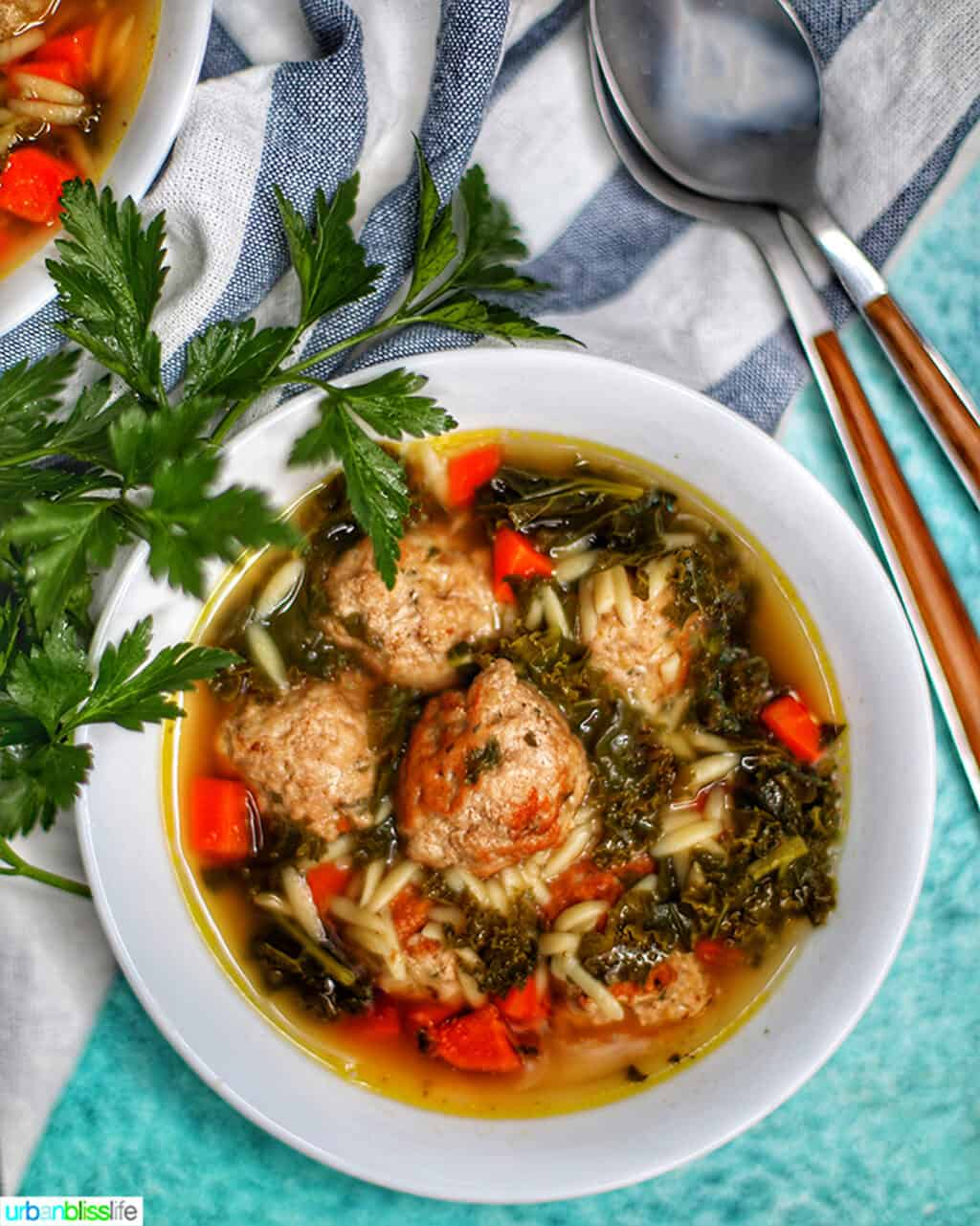 single white bowl of Italian Wedding Soup with two spoons