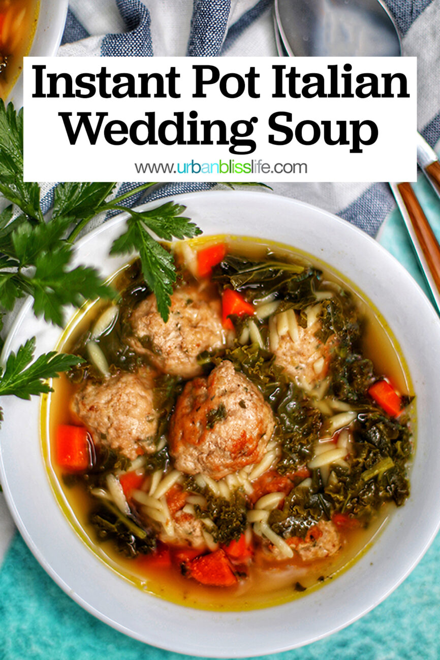 Bowl of Instant Pot Italian Wedding Soup with title text