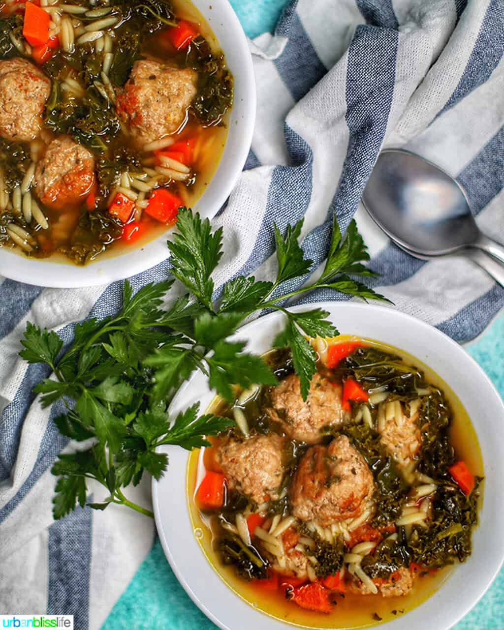 Bowl of Instant Pot Italian Wedding Soup with herbs and a napkin
