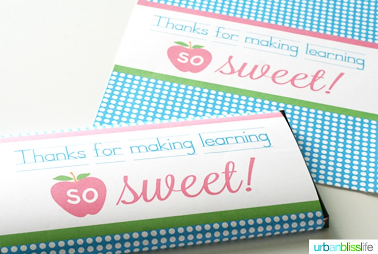 Printable Candy Bar Wrappers for Teacher Appreciation