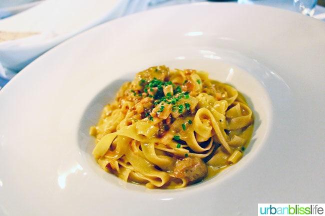 Tagliatelle pasta at Mucca Osteria restaurant in Portland, Oregon