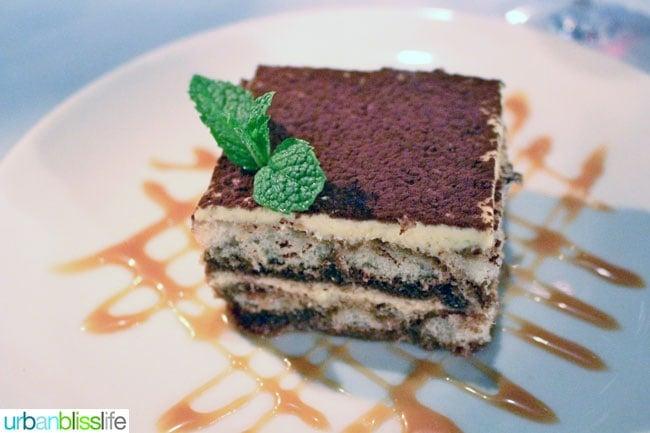 Tiramisu dessert at Mucca Osteria restaurant in Portland, Oregon