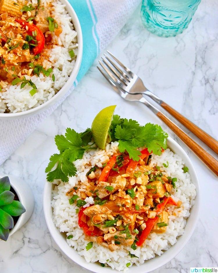 Thai Peanut Curry recipe plated