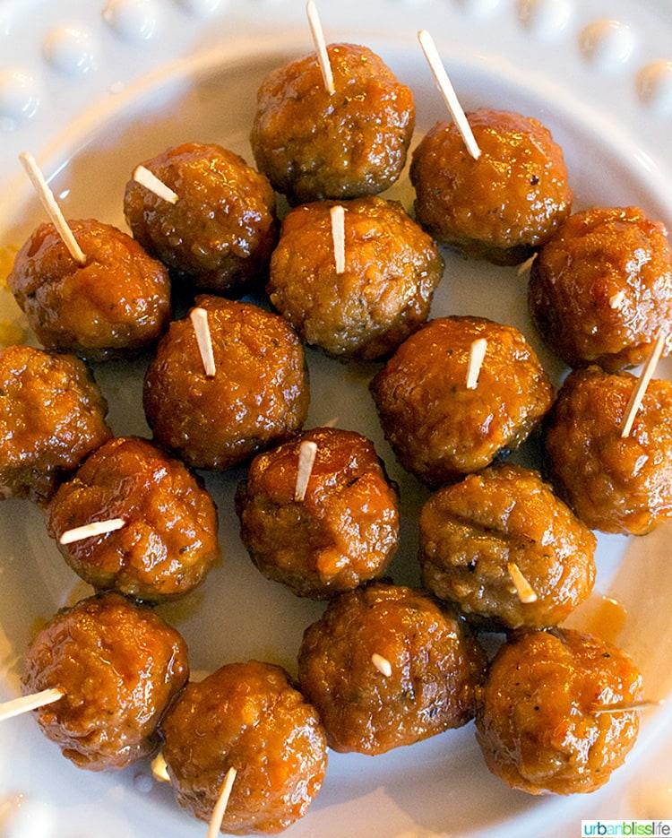 full plate of Slow Cooker Honey Bourbon Meatballs