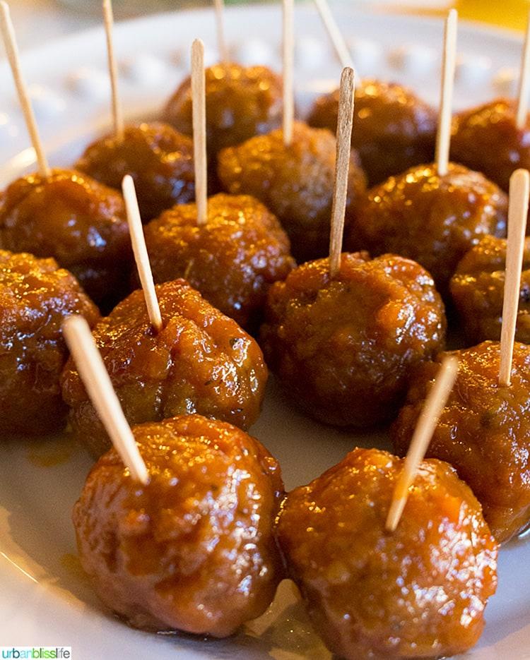 Plate of Slow Cooker Honey Bourbon Meatballs