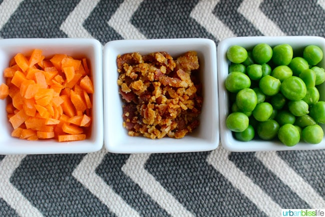 carrots, bacon and peas