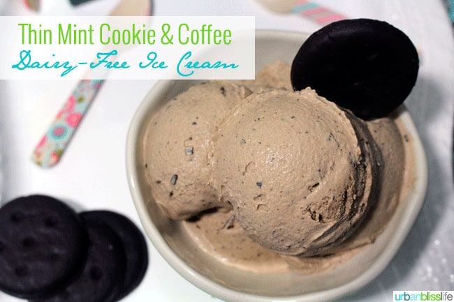 Dairy Free Coffee Ice Cream with Thin Mint Cookies on UrbanBlissLife.com