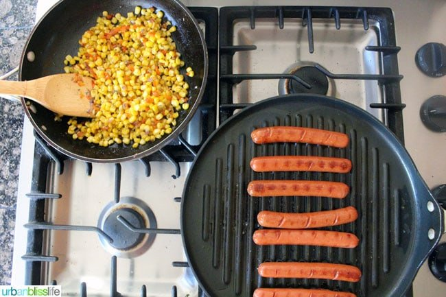 Summer Corn Relish and hot dogs