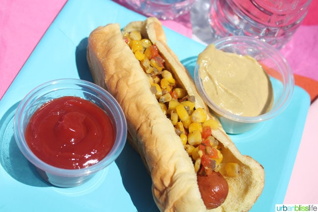 hot dog with corn relish