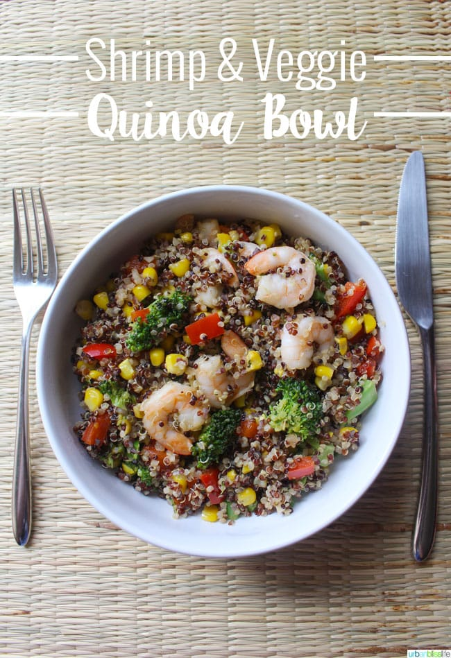 Shrimp Quinoa Bowl recipe on UrbanBlissLife.com