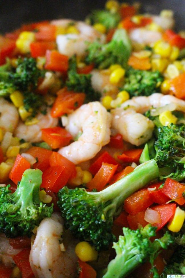 Shrimp Quinoa Bowl with mixed vegetables