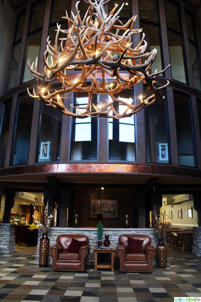 antler chandelier at red lion hotel in Kalispell Montana