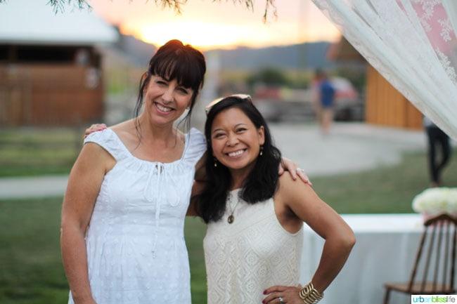 two women in field