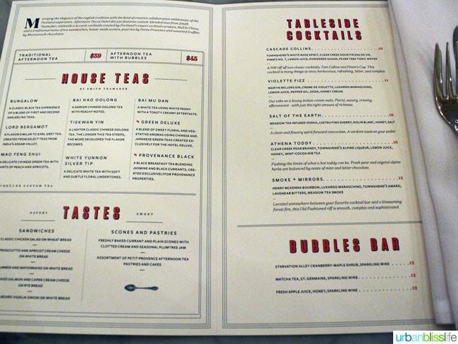 Hotel deLuxe Tea menu