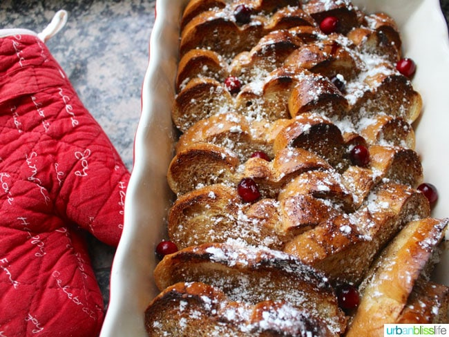 wide of oven mitt and french toast