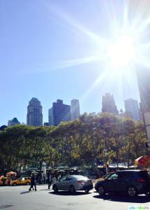 Sunburst over New York City new Bryant Park