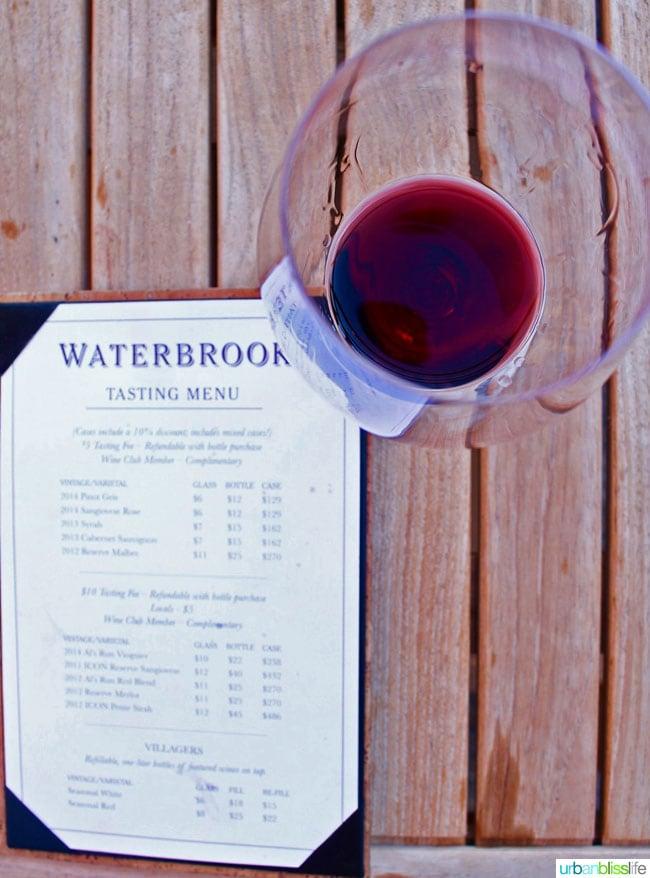 Waterbrook Winery Red Wine Menu
