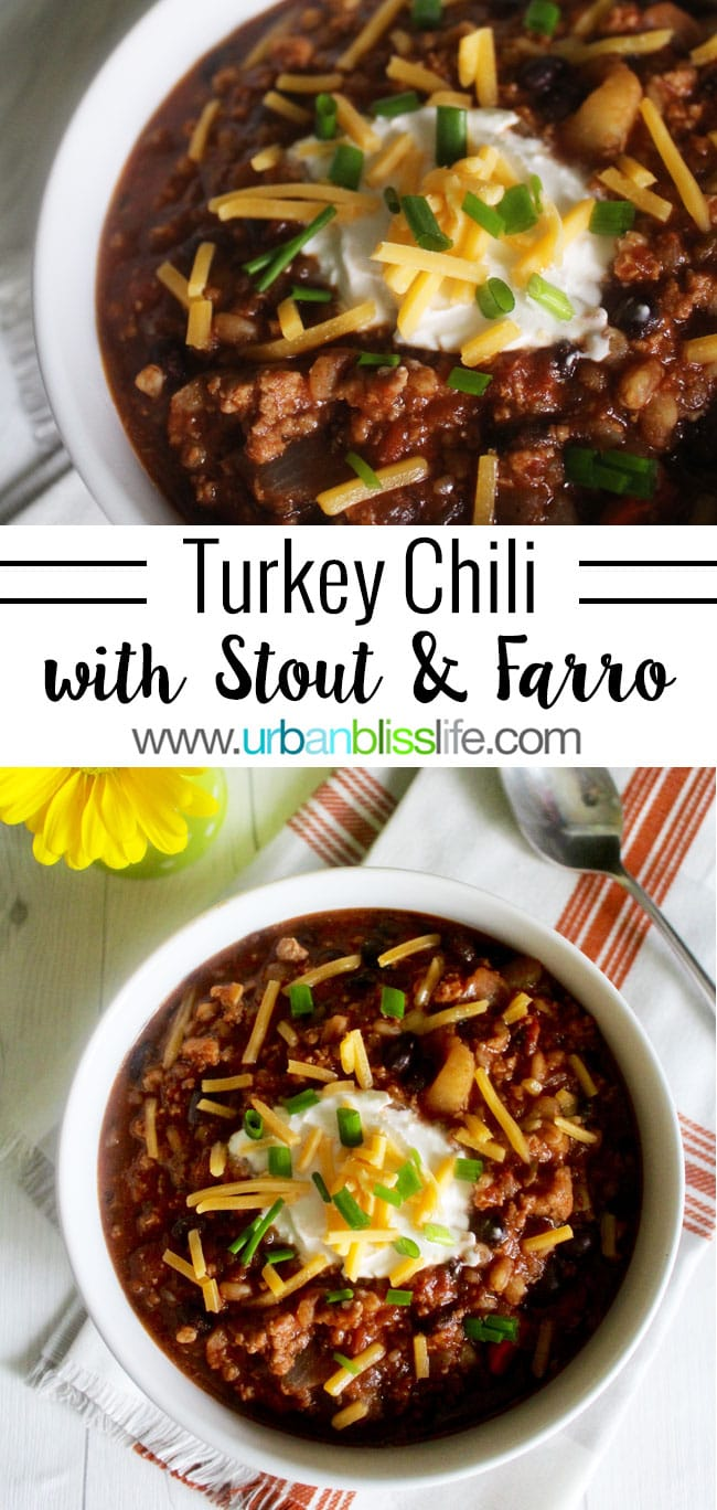 Hearty Turkey Chili With Stout and Farro recipe on UrbanBlissLife.com