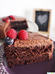 Easy Vegan Chocolate Cake slice on plate
