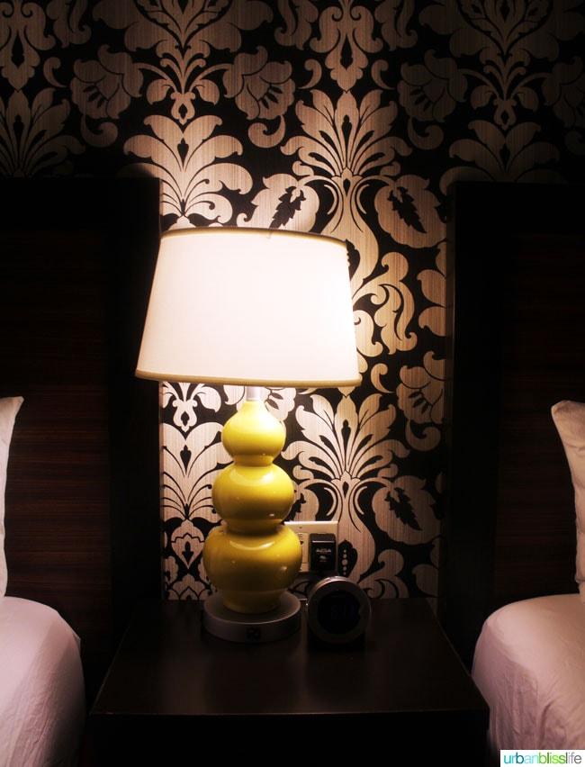lamp in hotel room