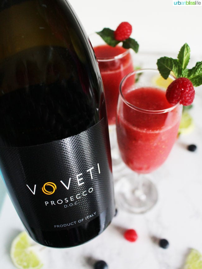 prosecco with Raspberry Bellini with Lime cocktail