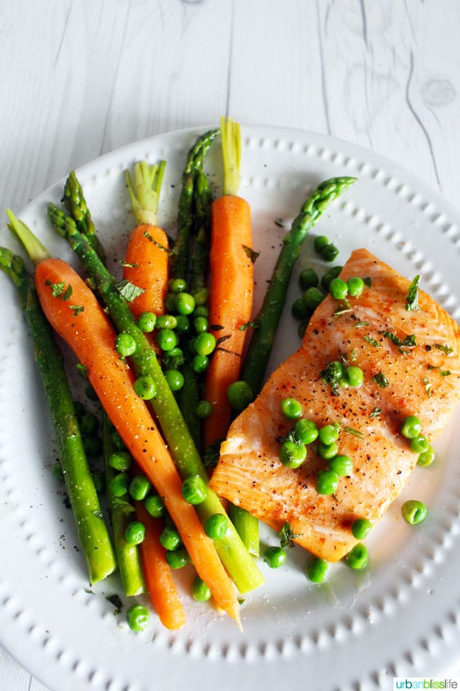 Salmon and asparagus, carrots and peas