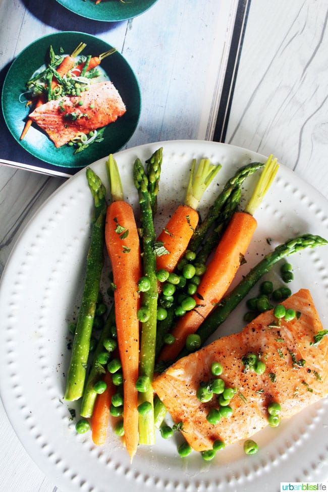Salmon with asparagus, carrots and peas recipe on UrbanBlissLife.com