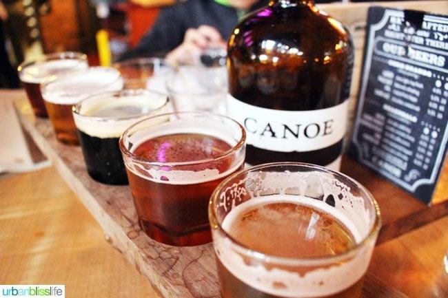 beer sampler Canoe Brewery