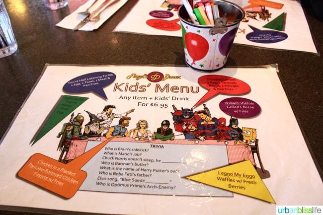 kids menu at Floyd's Diner in victoria bc