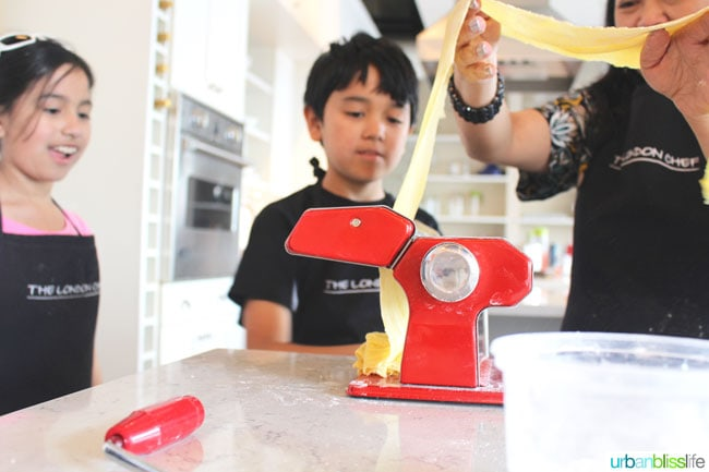 Cooking Classes in Victoria BC: rolling out pasta