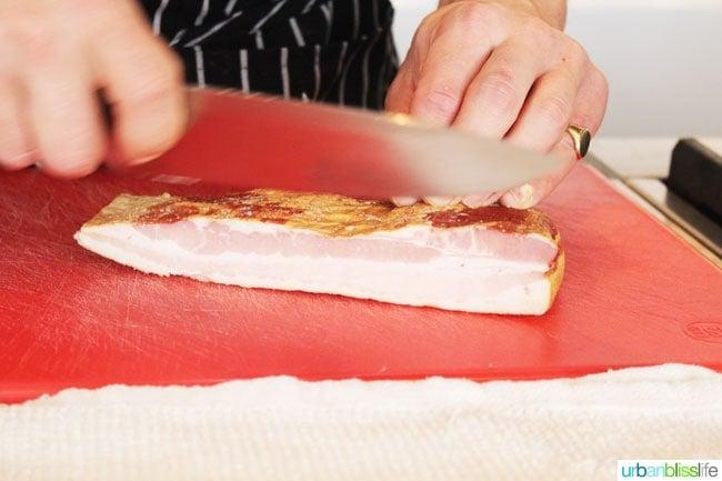 chopping bacon