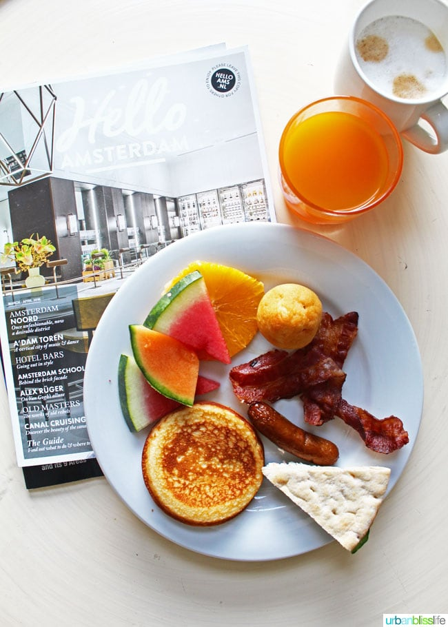 bacon, sausage and fruit breakfast at NH Carlton hotel in Amsterdam