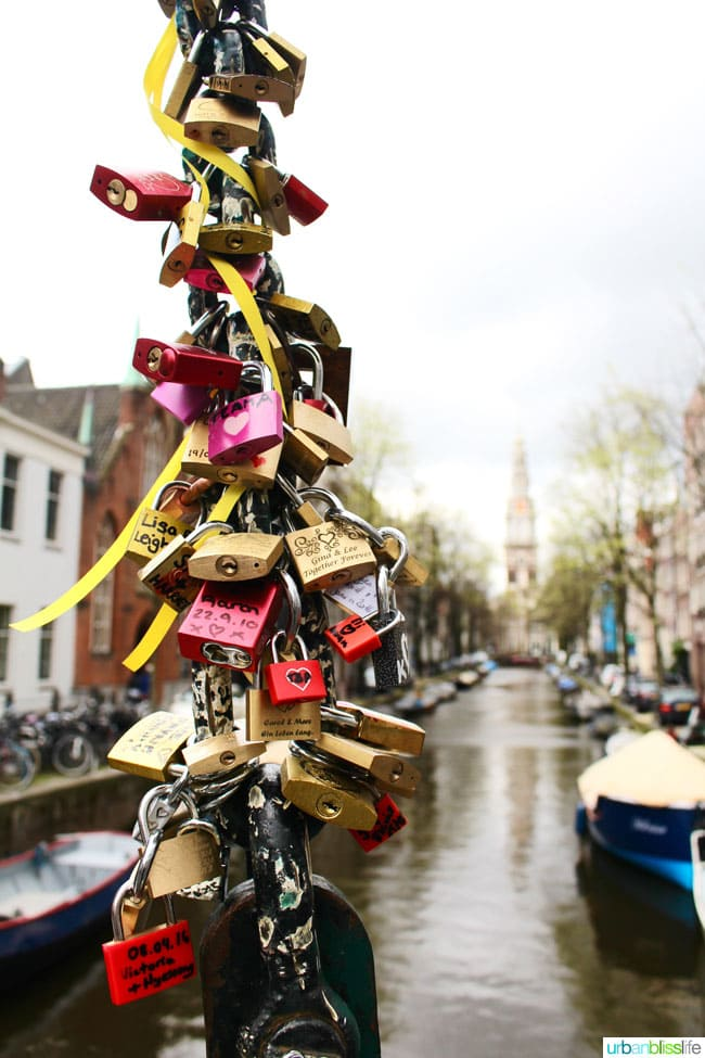 love locks bridge Amsterdam