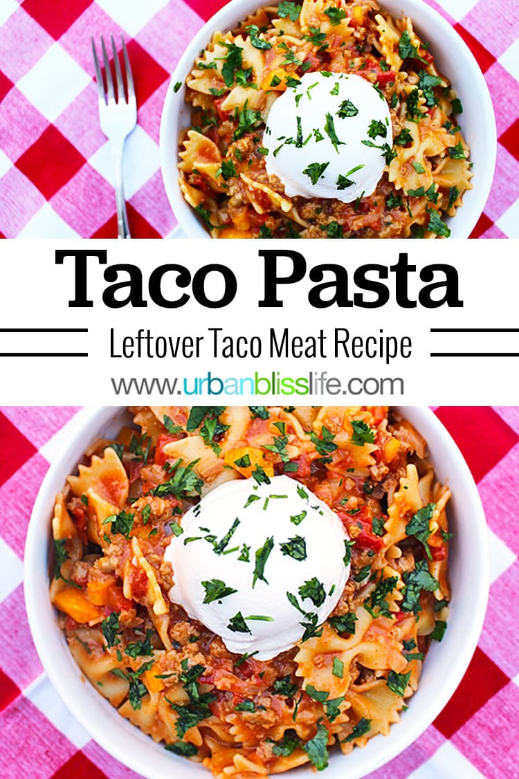 white bowl of Taco Pasta on red and white checkered tablecloth with fork with text overlay