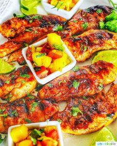 closeup of Grilled Pineapple Chicken with Pineapple Mango Salsa in little cups