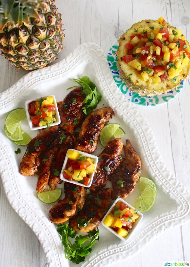Grilled Pineapple Mango Chicken and Salsa