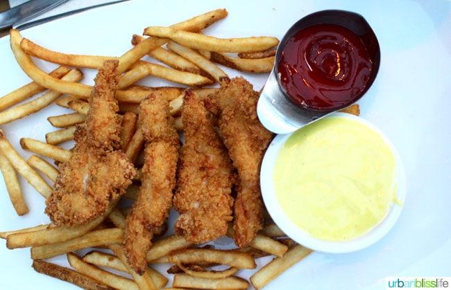 Kid friendly restaurants in Vancouver BC: Chicken tenders at Cactus Club