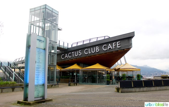 Kid friendly restaurants in Vancouver BC: Cactus Club Cafe
