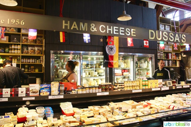 cheese stands in granville island