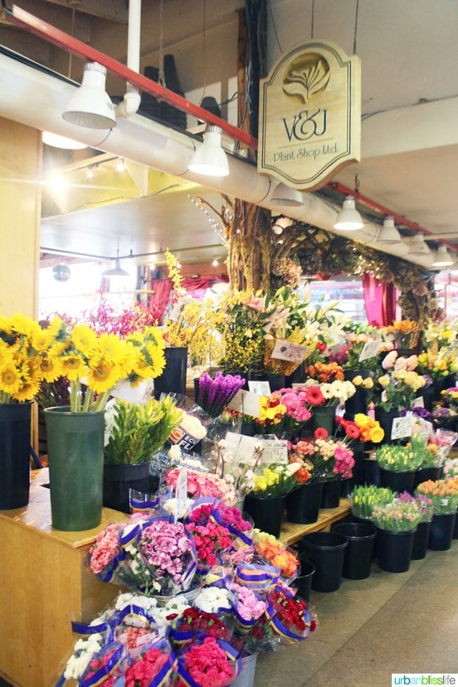 flowers in granville island public market