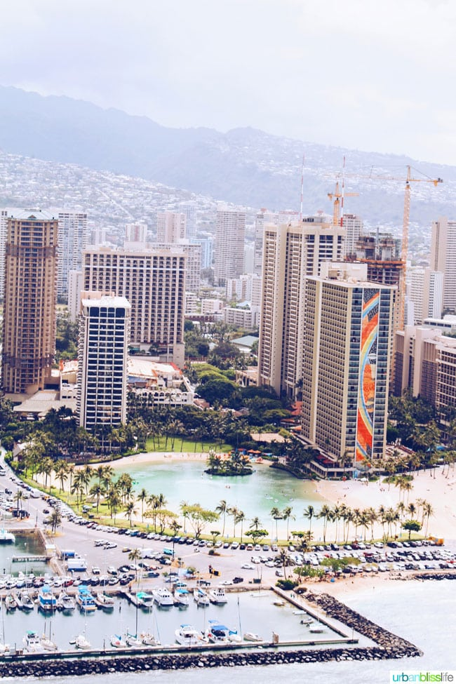 oahu helicopter tour - view of honolulu