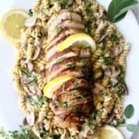 Pork Pasta recipe with Mushroom Herb Sauce, Dairy-Free - recipe on UrbanBlissLife.com