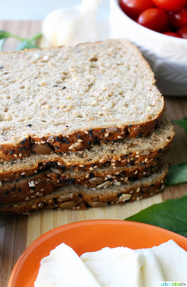 bread slices close up