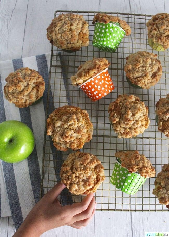 Healthy Apple Cinnamon Muffins on cooling rack
