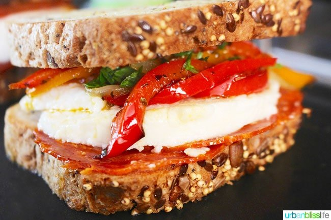 Chorizo sandwich with cheese and peppers