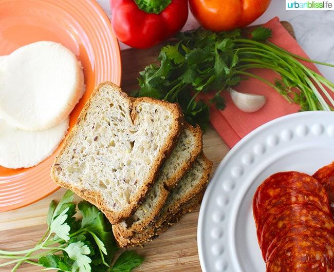 bread, tomato, chorizo, and garlic