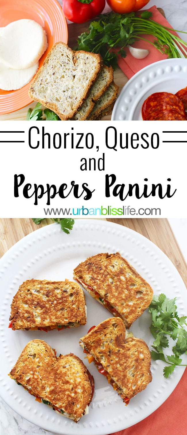 Chorizo Sandwich with Queso and Peppers - these hearty, delicious paninis perfect for lunch, dinner, or to make to feed a crowd for tailgating, holiday parties, and more! Recipe on UrbanBlissLife.com
