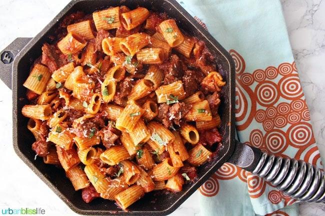 rigatoni and italian sausage in a pan